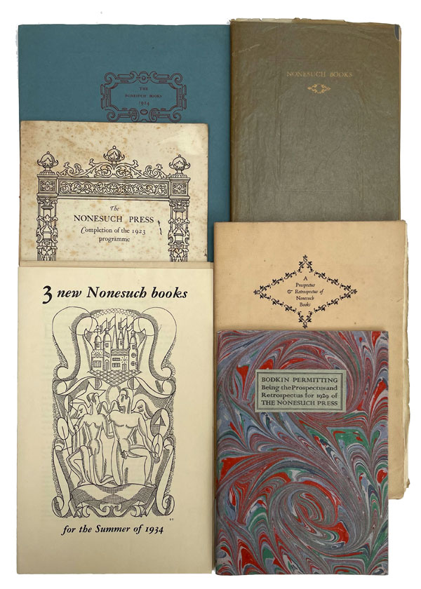 A Collection of Prospectuses, Retrospectuses and other ephemera. Nonesuch Press.